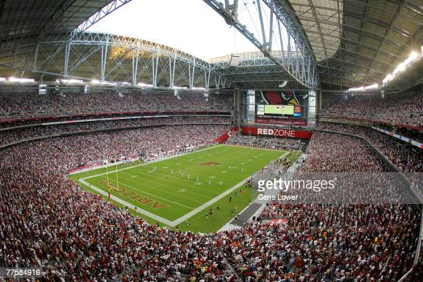 With the roof open, the Arizona Cardinals kickoff to the Chicago Bears during the Chicago Bears vs Arizona Cardinals game on October 16 at the...