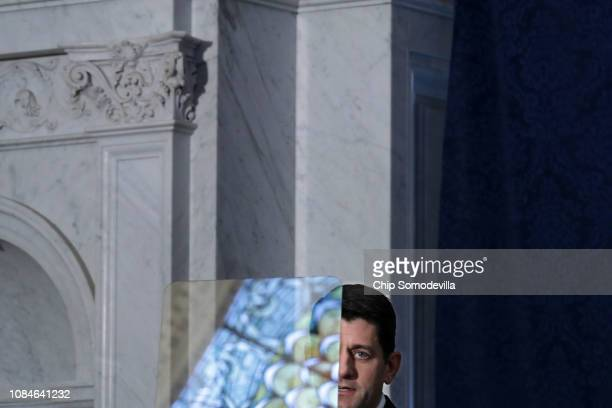 With the stained glass ceiling reflected in his TelePrompter Speaker of the House Paul Ryan delivers a farewell address in the Great Hall of the...