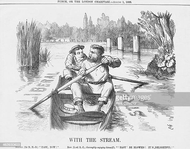 'With the Stream' 1885 The cartoon depicts the new Conservative administration rowing in the 'Liberal stream' towards a General Election Towards the...