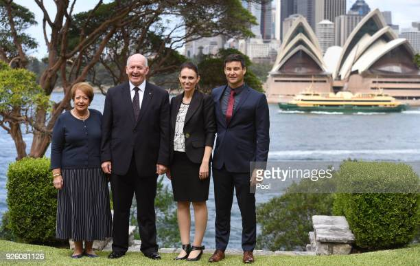 With the Sydney Opera House in the background Australia's GovernorGeneral Sir Peter Cosgrove and his wife Lady Lynne Cosgrove pose with New Zealand's...