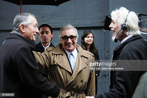 With the Tribeca Theater Festival getting underway actor Robert De Niro and director Martin Scorsese share a laugh on Mercer St while working on a...