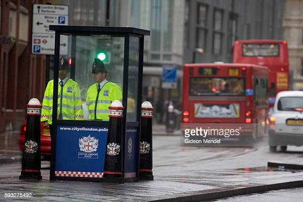 With the UK on a terror alert that has been raised to a critical level police man a checkpoint at the bollards which mark the entrance to the city of...