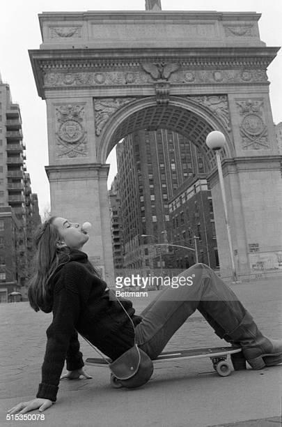 With the Washington Square arch in the background Brooke Shields is just another kid enjoying a skateboard and bubble gum At the age of one she was a...