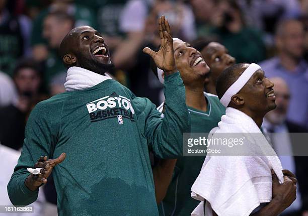 With the win over the Los Angeles Lakers safely in hand Boston Celtics power forward Kevin Garnett leads the way as he mimics the Gino dance moves on...