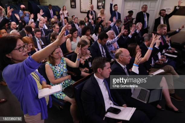 With their number allowed in the Brady Press Briefing Room returned to full attendance for the first time since the start of the coronavirus...