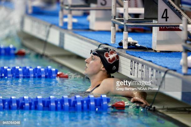 With time to spare Katie Ledecky of Stanford rests after competing in the 1650 yard freestyle during the Division I Women's Swimming Diving...