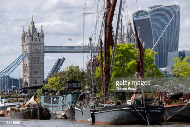 With Tower Bridge and the Walkie Talkie building in the distance, barges and lighters at Tower Bridge Moorings are grouped together on the river...