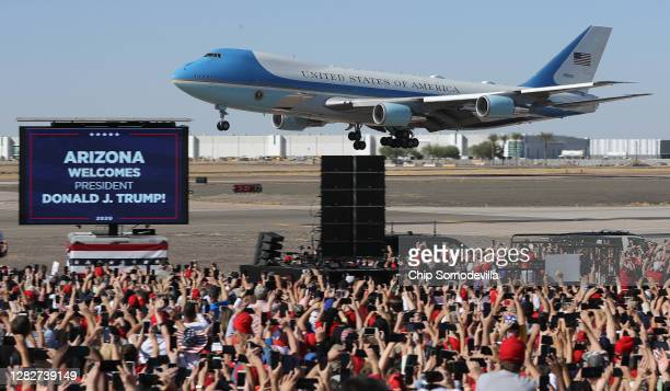 With U.S. President Donald Trump on board, Air Force One lands at Phoenix Goodyear Airport for a campaign rally October 28, 2020 in Goodyear,...