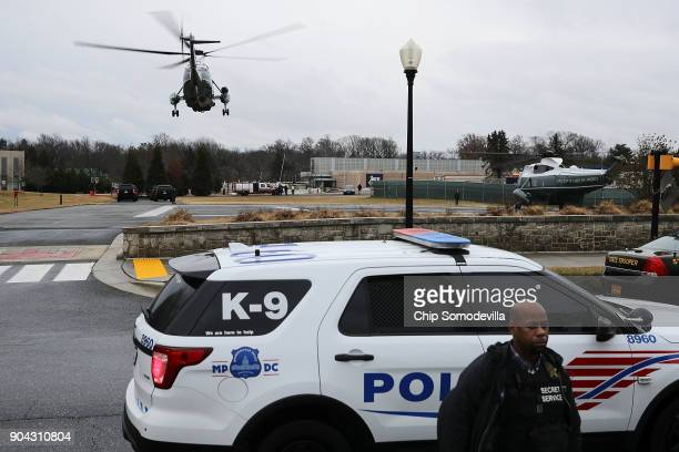 With US President Donald Trump on board Marine One lifts off from Walter Reed National Military Medical Center following the president's annual...