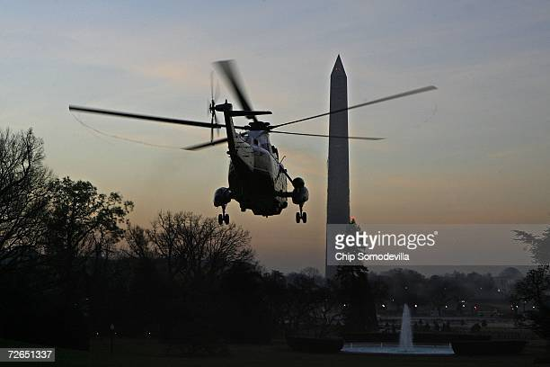 With US President George W Bush on board Marine One departs from the White House November 27 2006 in Washington DC Bush is headed for meetings with...