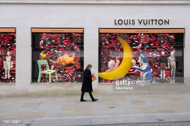 With very few people out and about, Bond Street is virtually empty with all shops, like here outside the Louis Vuitton store, closed as the national...