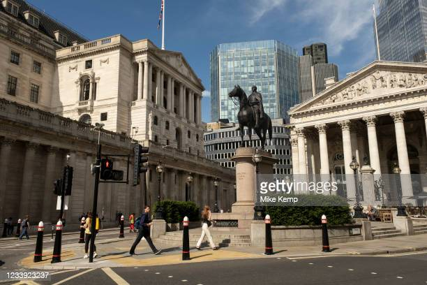 With very few people out and about the scene in the City of London financial district is one of quiet, outside the Royal Exchange near the Bank of...