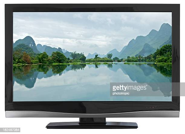 hd tv with water landscape on screen - flat screen stock pictures, royalty-free photos & images