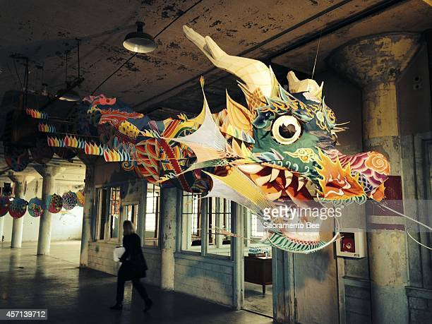 'With Wind' a Chinese dragon kite above is one of Ai Weiwei's installations at Alcatraz