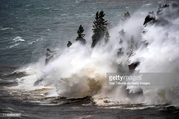 With wind gusts up to 50 miles per hour, the waves were pounding the shoreline at Tettegouche State Park Thursday afternoon near Silver Bay,...
