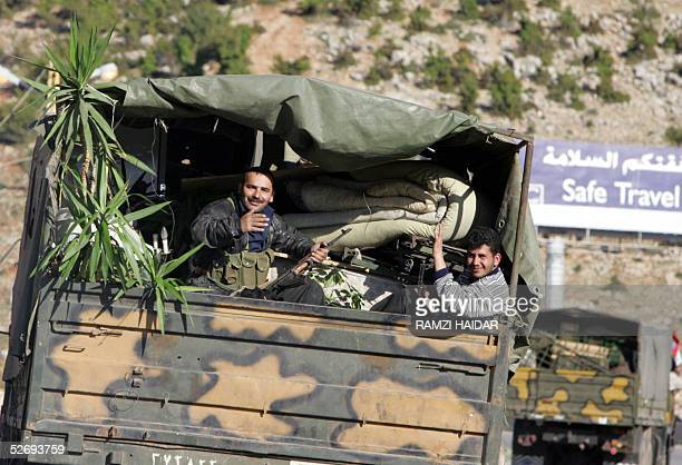 Withdrawing Syrian intelligence agents and troops head to Syria with their belongings through the border crossing point of Masnaa 25 April 2005 Syria...