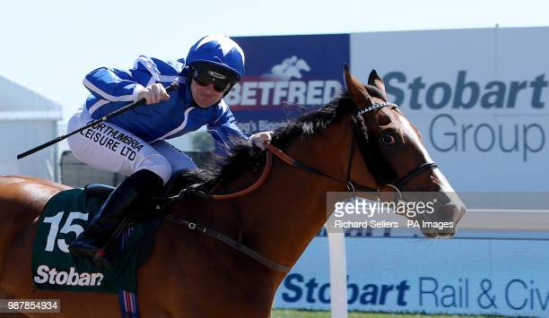 Withhold ridden by Robert Winston wins the Stobart Rail Civils Northumberland Plate Handicap race during Northumberland Plate Day at Newcastle...