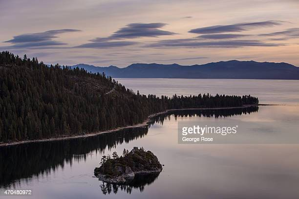 Without a series of Pacific storms reaching this famous high-elevation lake resort, water levels are reaching record lows as viewed on April 12 in...