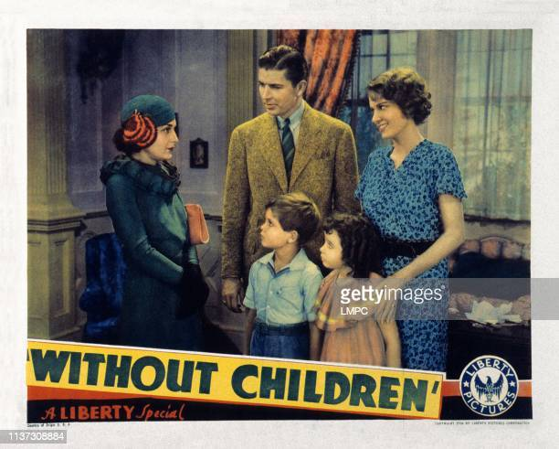 Without Children US lobbycard adults from left Evelyn Brent Bruce Cabot Marguerite Churchill children from left Dickie Moore Cora Sue Collins 1935
