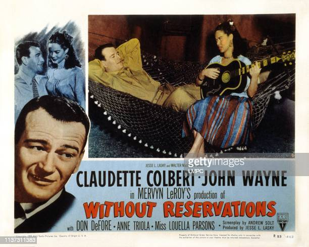 Without Reservations US lobbycard from left John Wayne Dona Drake 1946