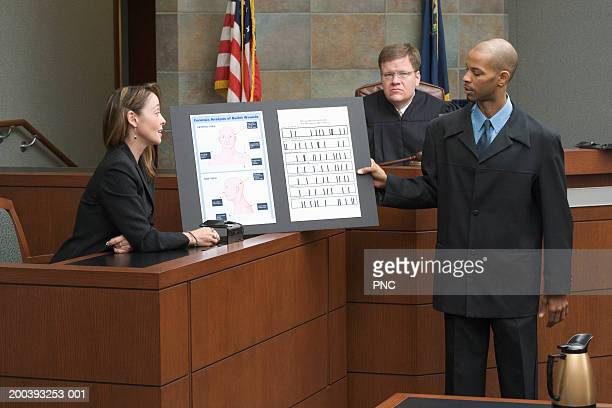 witness discusses dna evidence with lawer and judge during trial - witness stock pictures, royalty-free photos & images