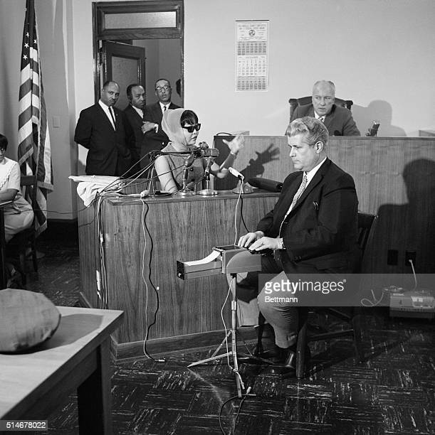 Witness Elisa Boyer wearing a disguise testifies during the Coroner's Inquest of the murder of soul singer Sam Cooke