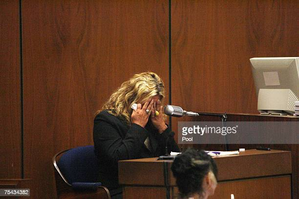 "Witness ""Punkin Pie"" Irene Elizabeth Laughlin, a friend of victim Lana Clarkson, cries as she testifies in music producer Phil Spector's murder trial..."