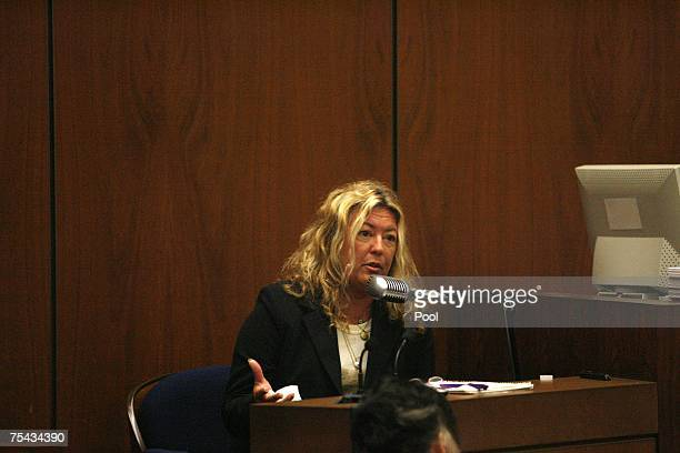 "Witness ""Punkin Pie"" Irene Elizabeth Laughlin, a friend of victim Lana Clarkson, testifies in music producer Phil Spector's murder trial in Superior..."