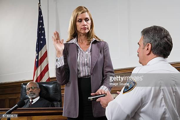 A witness swearing an oath