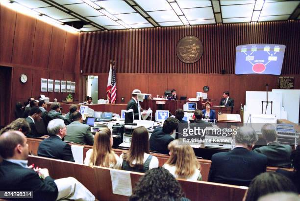 A witness testifies during the OJ Simpson murder trial Los Angeles California July 5 1995