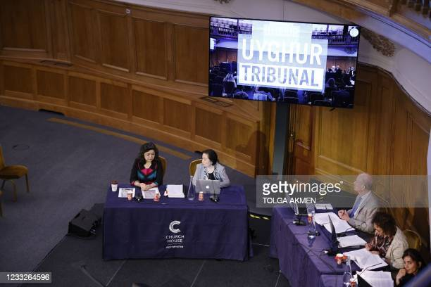 """Witness Uyghur teacher Qelbinur Sidik speaks on the first day of hearings at the """"Uyghur Tribunal"""", a panel of UK-based lawyers and rights experts..."""