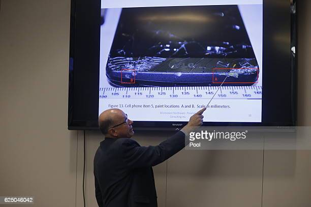 Witness William Schneck points to a video screen during the trial of former North Charleston police officer Michael Slager at the Charleston County...