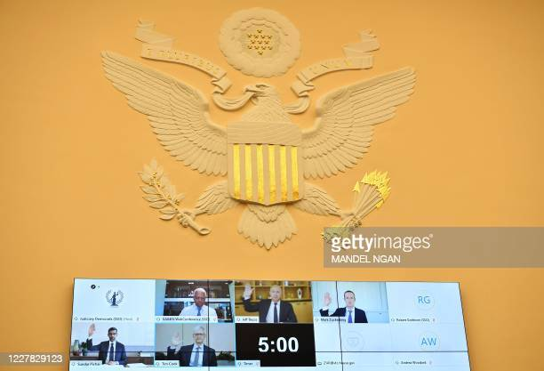 Witnesses Amazon CEO Jeff Bezos , Facebook CEO Mark Zuckerberg , Google CEO Sundar Pichai , and Apple CEO Tim Cook are sworn-in before the House...