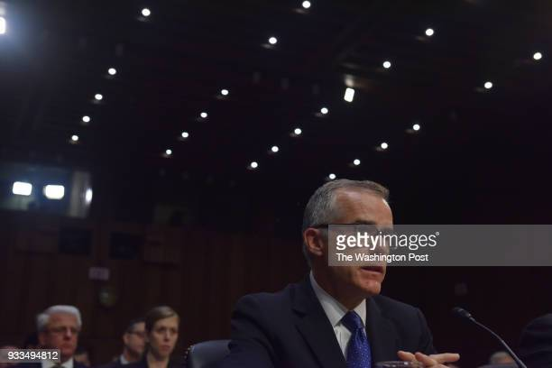 Witnesses including Andrew McCabe Acting Director of the Federal Bureau of Investigation testify as the US Senate Select Committee on Intelligence...