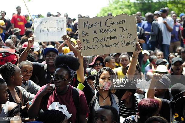 Wits students embark on a protest over an increase on the tuition fees on October 15 2015 in Johannesburg South Africa The students shut down the...