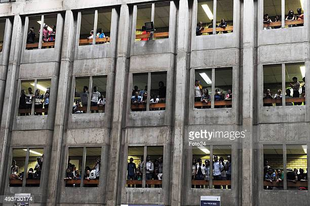 Wits students embark on a protest over an increase on the tuition fees on October 14 2015 in Johannesburg South Africa The students shut down the...