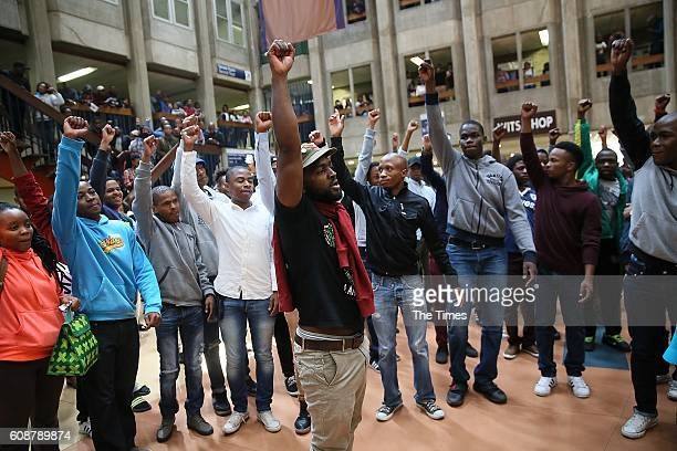 Wits University students sing and chant during the #FeesMustFall protest on September 19 2016 in Johannesburg South Africa Students threatened to...