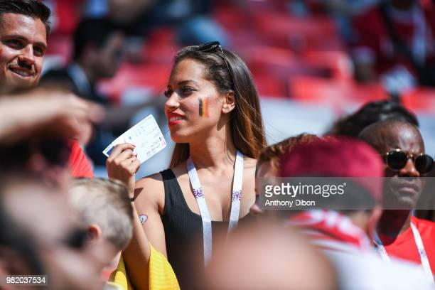 Witsel's sister Whitney Witsel during the FIFA World Cup Group G match between Belgium and Tunisia at Spartak Stadium on June 23 2018 in Moscow Russia