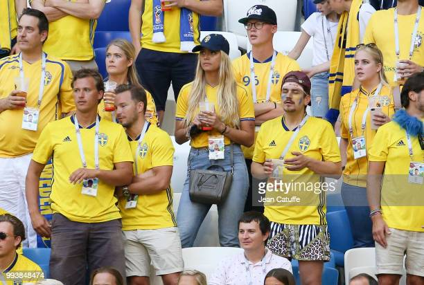 Wives and girlfriends of Swedish players attend the 2018 FIFA World Cup Russia Quarter Final match between Sweden and England at Samara Arena on July...