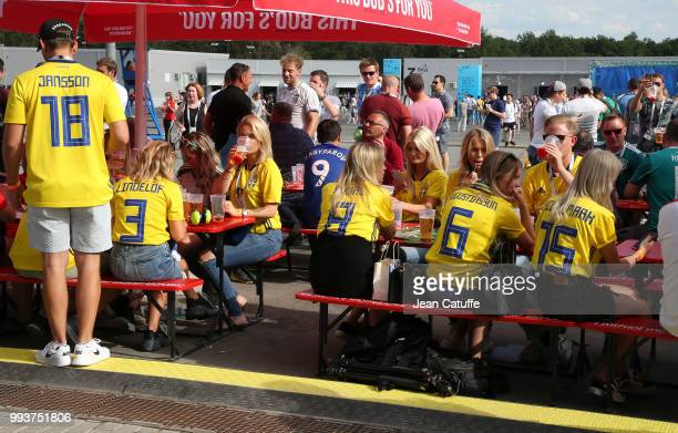 Wives and girlfriends of Swedish players enjoy a beer before the 2018 FIFA World Cup Russia Quarter Final match between Sweden and England at Samara...
