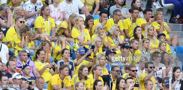 Wives and girlfriends of Swedish players worry towards the end of the 2018 FIFA World Cup Russia Quarter Final match between Sweden and England at...