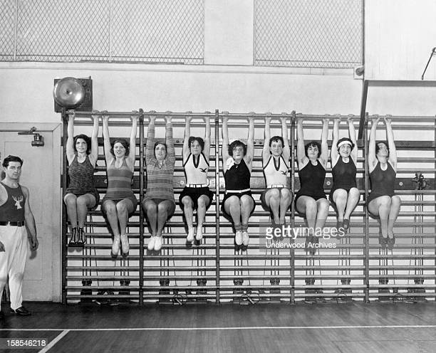 Wives of the members of the Philadelphia Elks organization workout at the club gym there Philadelphia Pennsylvania circa 1929