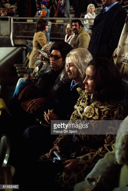 Wives of the Oakland Athletics players sit in the stands of Shea Stadium during the World Series against the New York Mets in Flushing New York in...