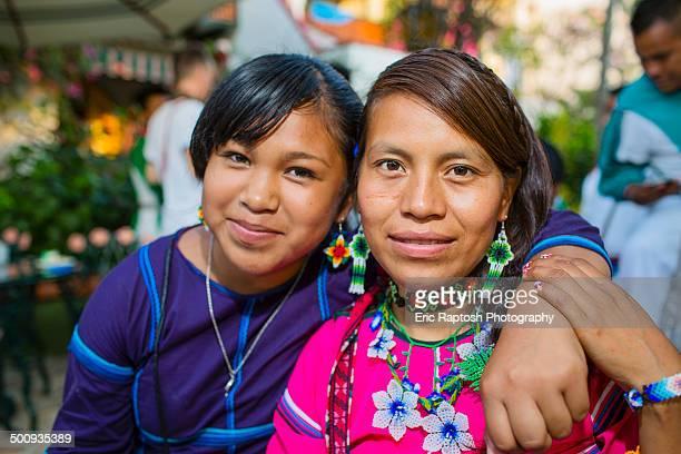 wixaritari women posing at gathering - vestido tradicional fotografías e imágenes de stock