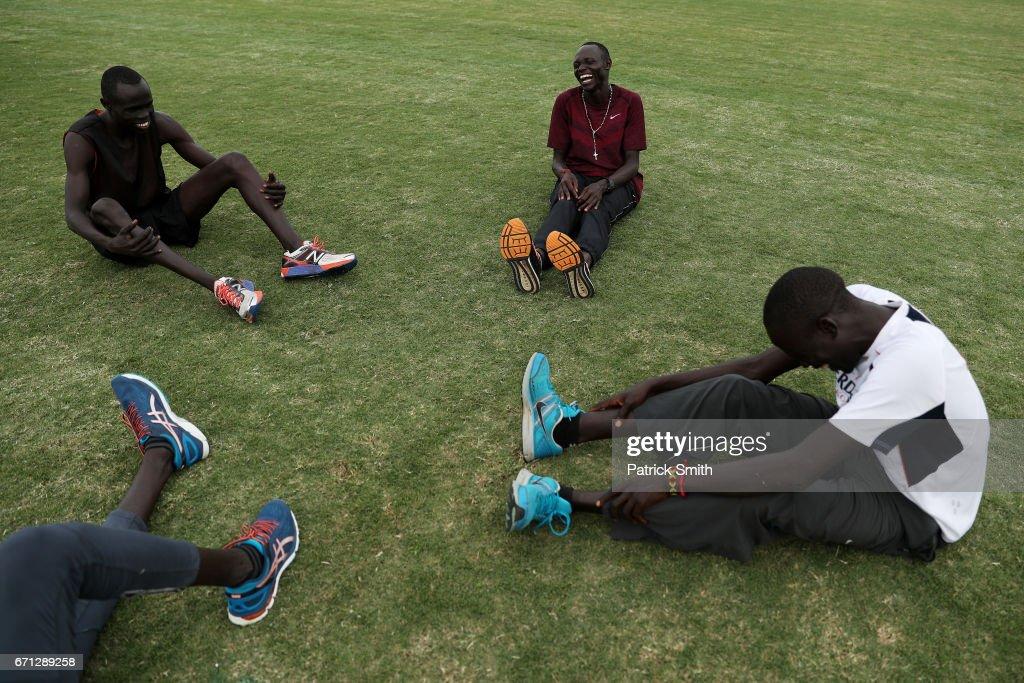 Wiyual Puok Deng (L), Paulo Amotun Lokoro (C), Dominic Lokinyomo Lobalu (R) and Gai Nyang Tap (bottom L) of the Athlete Refugee Team practice prior to the IAAF / BTC World Relays Bahamas 2017 at the Thomas Robinson Stadium on April 21, 2017 in Nassau, Bahamas.