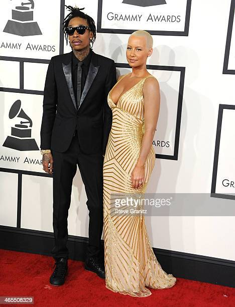 Wiz Khalifa and Amber Rose arrivals at the 56th GRAMMY Awards on January 26 2014 in Los Angeles California