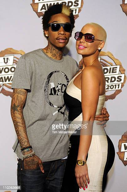 Wiz Khalifa and Amber Rose attend the 2011 mtvU Woodie Awards at the Austin Music Hall on March 16 2011 in Austin Texas