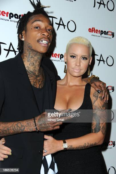 Wiz Khalifa and Amber Rose attend The Wiz Of TAO Halloween Spectacular at on October 31 2013 in Las Vegas Nevada