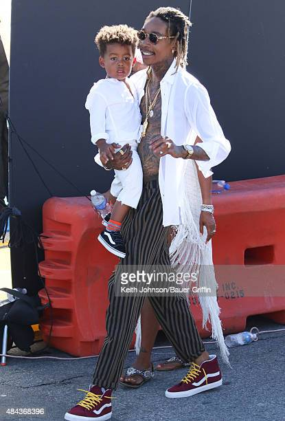 Wiz Khalifa and his son Sebastian Taylor Thomaz are seen on August 16 2015 in Los Angeles California