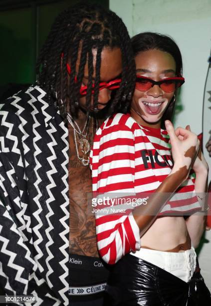 Wiz Khalifa and Winnie Harlow attend the Wiz Khalifa album release party on July 17 2018 in New York City